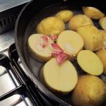 Batatas cozidas com alho