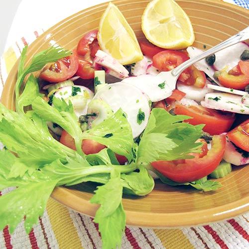 Salada de rabanetes e alcaparras. Foto:Marcia Zoladz - Cozinha da Marcia